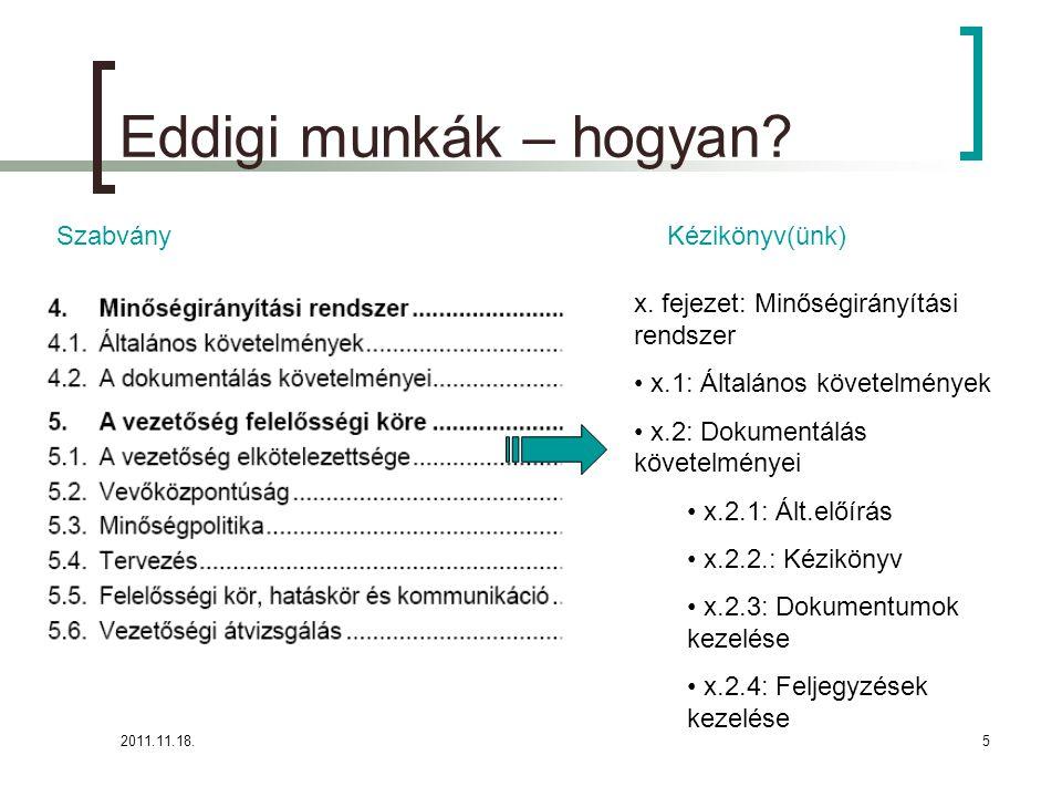 2011.11.18.5 Eddigi munkák – hogyan. SzabványKézikönyv(ünk) x.