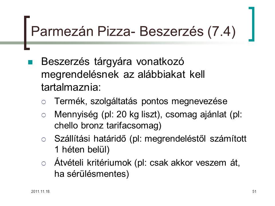 2011.11.18.51 Parmezán Pizza- Beszerzés (7.4) Beszerzés tárgyára vonatkozó megrendelésnek az alábbiakat kell tartalmaznia:  Termék, szolgáltatás pontos megnevezése  Mennyiség (pl: 20 kg liszt), csomag ajánlat (pl: chello bronz tarifacsomag)  Szállítási határidő (pl: megrendeléstől számított 1 héten belül)  Átvételi kritériumok (pl: csak akkor veszem át, ha sérülésmentes)