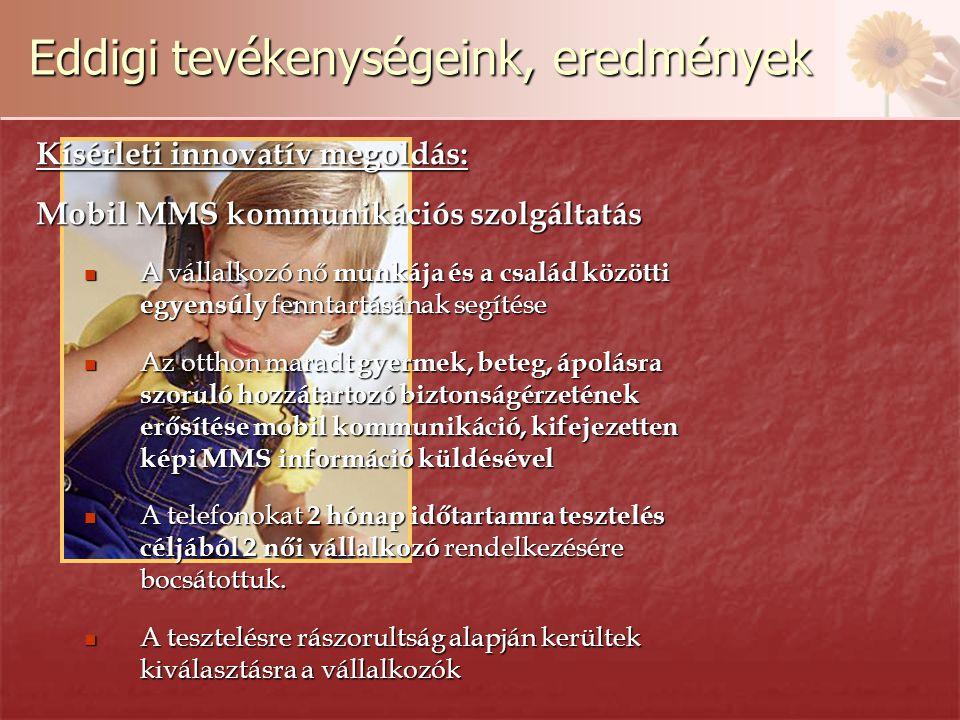 Eddigi tevékenységeink, eredmények Kísérleti innovatív megoldás: Mobil MMS kommunikációs szolgáltatás A vállalkozó nő munkája és a család közötti egyensúly fenntartásának segítése A vállalkozó nő munkája és a család közötti egyensúly fenntartásának segítése Az otthon maradt gyermek, beteg, ápolásra szoruló hozzátartozó biztonságérzetének erősítése mobil kommunikáció, kifejezetten képi MMS információ küldésével Az otthon maradt gyermek, beteg, ápolásra szoruló hozzátartozó biztonságérzetének erősítése mobil kommunikáció, kifejezetten képi MMS információ küldésével A telefonokat 2 hónap időtartamra tesztelés céljából 2 női vállalkozó rendelkezésére bocsátottuk.