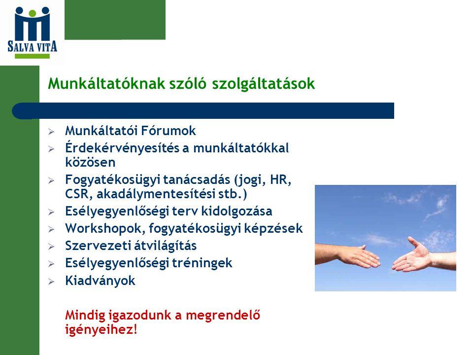Munkáltatóknak szóló szolgáltatások  Munkáltatói Fórumok  Érdekérvényesítés a munkáltatókkal közösen  Fogyatékosügyi tanácsadás (jogi, HR, CSR, aka