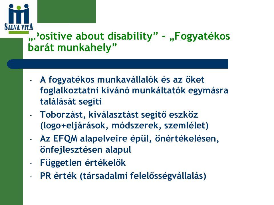 """""""Positive about disability"""" – """"Fogyatékos barát munkahely"""" - A fogyatékos munkavállalók és az őket foglalkoztatni kívánó munkáltatók egymásra találásá"""