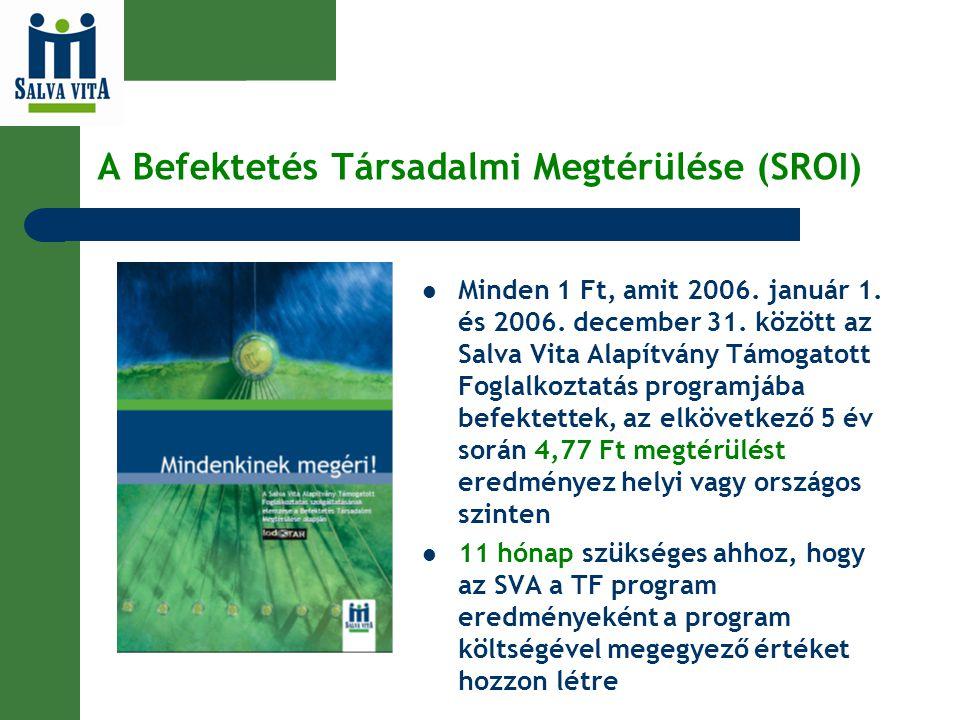 A Befektetés Társadalmi Megtérülése (SROI) Minden 1 Ft, amit 2006. január 1. és 2006. december 31. között az Salva Vita Alapítvány Támogatott Foglalko