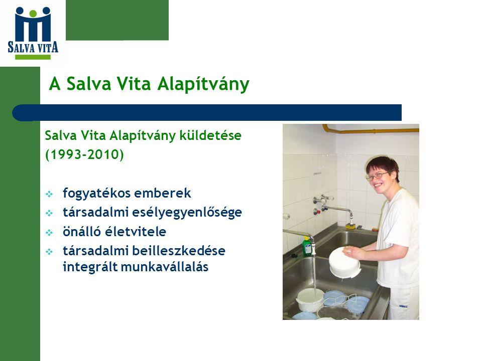 A Salva Vita Alapítvány Salva Vita Alapítvány küldetése (1993-2010)  fogyatékos emberek  társadalmi esélyegyenlősége  önálló életvitele  társadalm