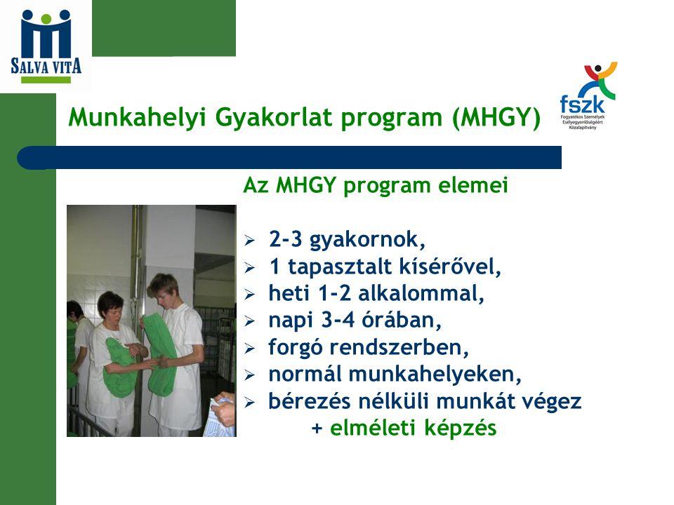 Munkahelyi Gyakorlat program (MHGY) Az MHGY program elemei  2-3 gyakornok,  1 tapasztalt kísérővel,  heti 1-2 alkalommal,  napi 3-4 órában,  forg