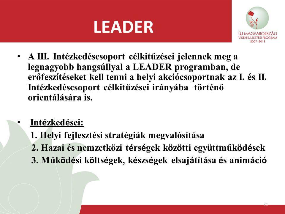 21 LEADER A III. Intézkedéscsoport célkitűzései jelennek meg a legnagyobb hangsúllyal a LEADER programban, de erőfeszítéseket kell tenni a helyi akció
