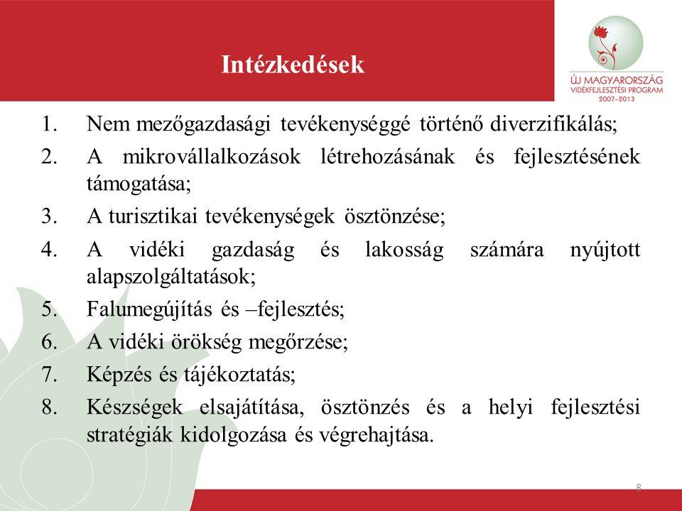 8 Intézkedések 1.Nem mezőgazdasági tevékenységgé történő diverzifikálás; 2.A mikrovállalkozások létrehozásának és fejlesztésének támogatása; 3.A turis