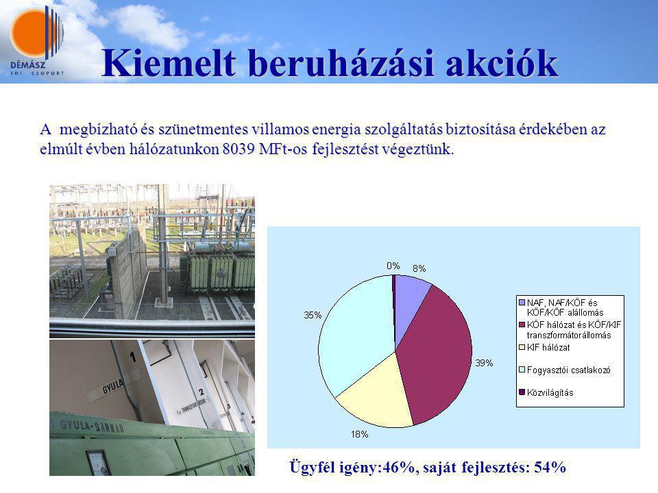 Kiemelt beruházási akciók A megbízható és szünetmentes villamos energia szolgáltatás biztosítása érdekében az elmúlt évben hálózatunkon 8039 MFt-os fe