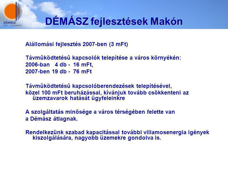 DÉMÁSZ fejlesztések Makón Alállomási fejlesztés 2007-ben (3 mFt) Távmûködtetésû kapcsolók telepítése a város környékén: 2006-ban 4 db - 16 mFt, 2007-b