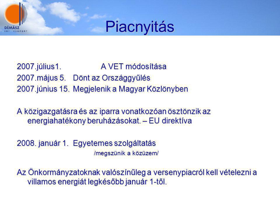 Piacnyitás 2007.július1.A VET módosítása 2007.május 5.Dönt az Országgyűlés 2007.június 15.Megjelenik a Magyar Közlönyben A közigazgatásra és az iparra