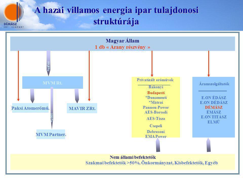 A belső ellenőrzési rendszer A hazai villamos energia ipar tulajdonosi struktúrája Magyar Állam 1 db « Arany részvény » MVM Rt. Paksi Atomerőmű. 99,8%