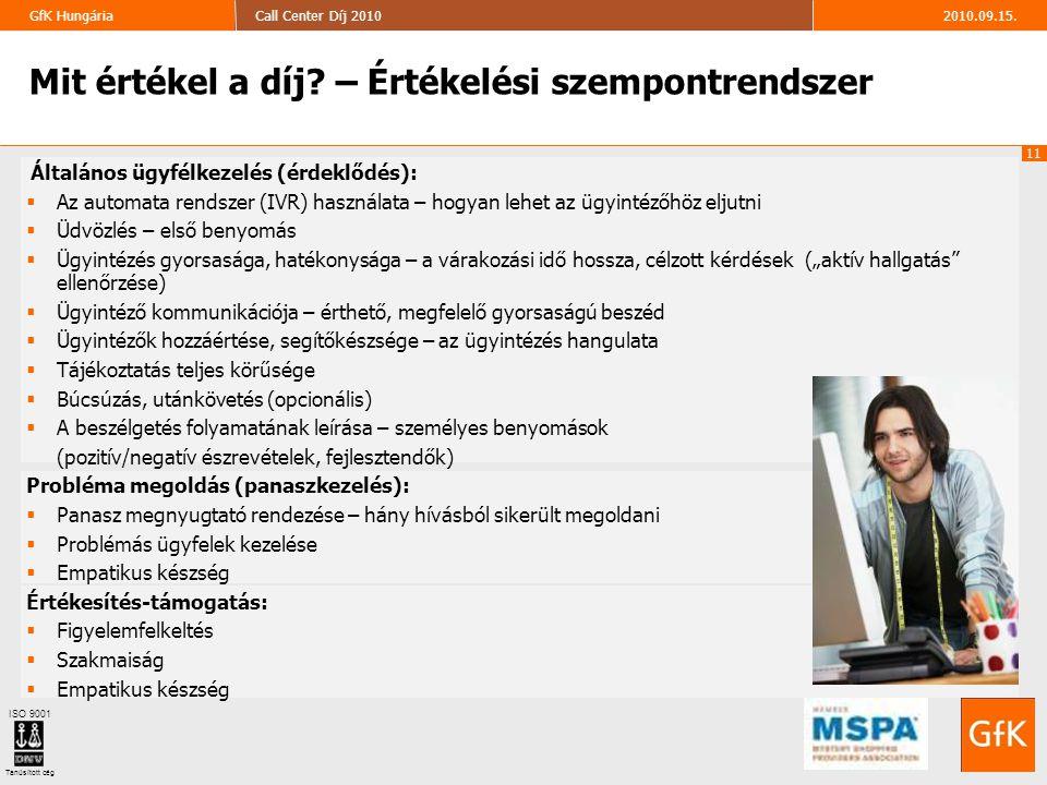 11 2010.09.15.Call Center Díj 2010GfK Hungária ISO 9001 Tanúsított cég 11 Általános ügyfélkezelés (érdeklődés):  Az automata rendszer (IVR) használat
