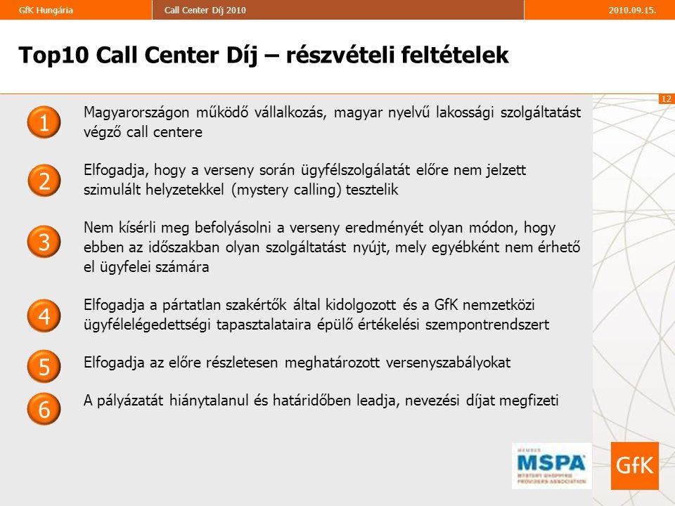 12 2010.09.15.Call Center Díj 2010GfK Hungária Top10 Call Center Díj – részvételi feltételek 3 2 1 4 5 6 Magyarországon működő vállalkozás, magyar nye