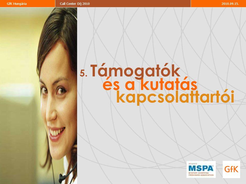 2010.09.15.Call Center Díj 2010GfK Hungária és a kutatás kapcsolattartói 5. Támogatók