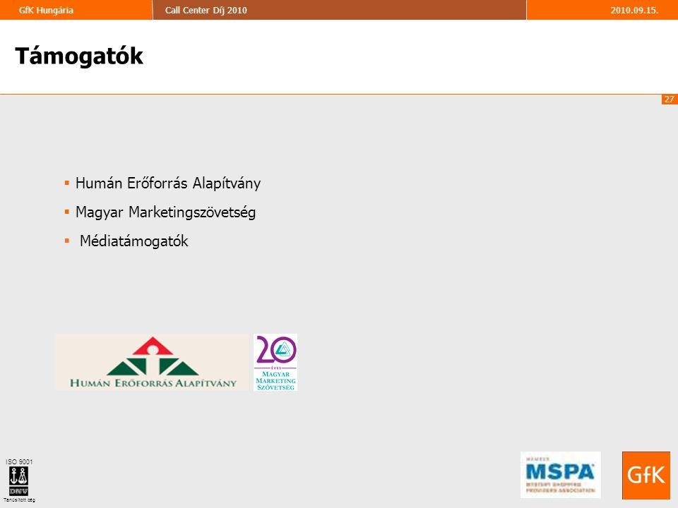 27 2010.09.15.Call Center Díj 2010GfK Hungária ISO 9001 Tanúsított cég Támogatók  Humán Erőforrás Alapítvány  Magyar Marketingszövetség  Médiatámog