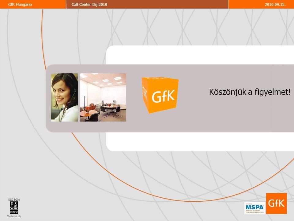 29 2010.09.15.Call Center Díj 2010GfK Hungária ISO 9001 Tanúsított cég 2010.09.15.Call Center Díj 2010GfK Hungária Köszönjük a figyelmet! ISO 9001 Tan