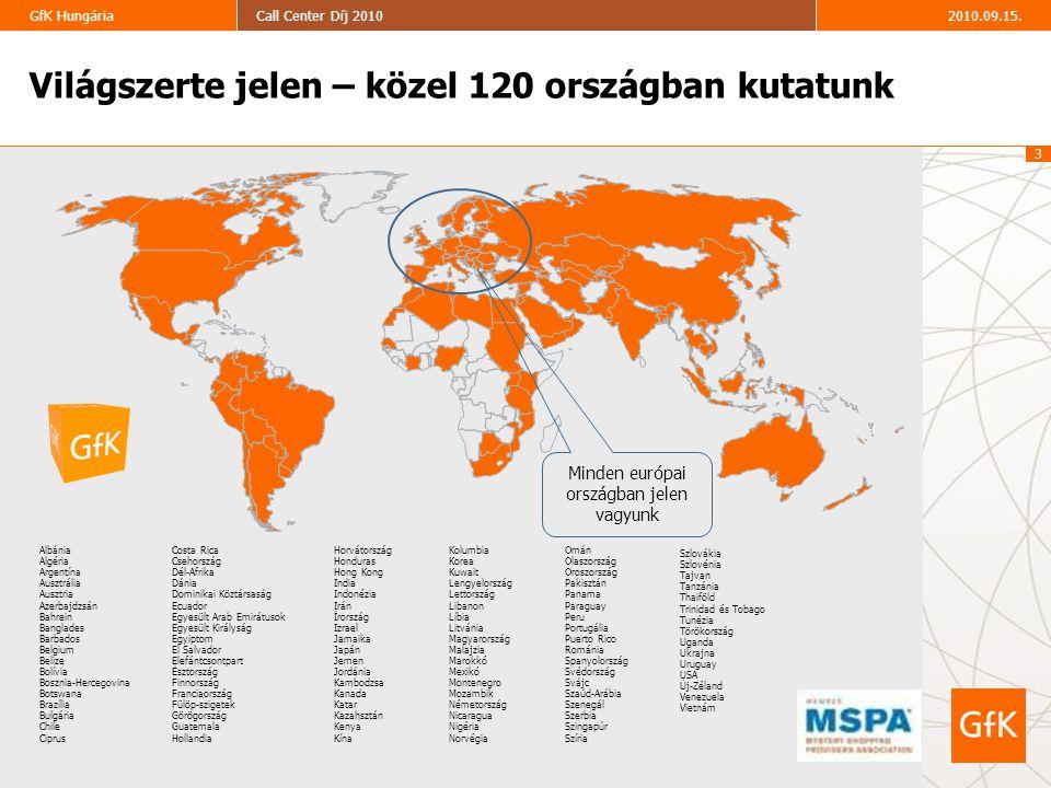 14 2010.09.15.Call Center Díj 2010GfK Hungária Top10 Call Center Díj – legfontosabb versenyszabályok A résztvevők minimum 2 kategóriában indulnak: általános ügyfélkezelés (kötelező minden résztvevő számára), + problémamegoldó, és/vagy értékesítő témában.