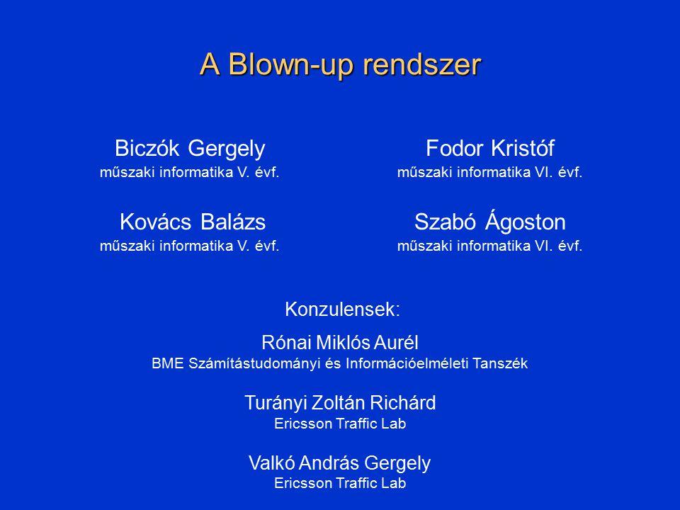 Blown-up rendszer tervezése Adaptációs réteg BME, TDK 2002 Feladata: BUMP-hálózat réteg üzeneteinek átalakítása az átviteli rétegnek megfelelő alakra Modulárisan épül fel: minden átvíteli típushoz külön-külön egy modul