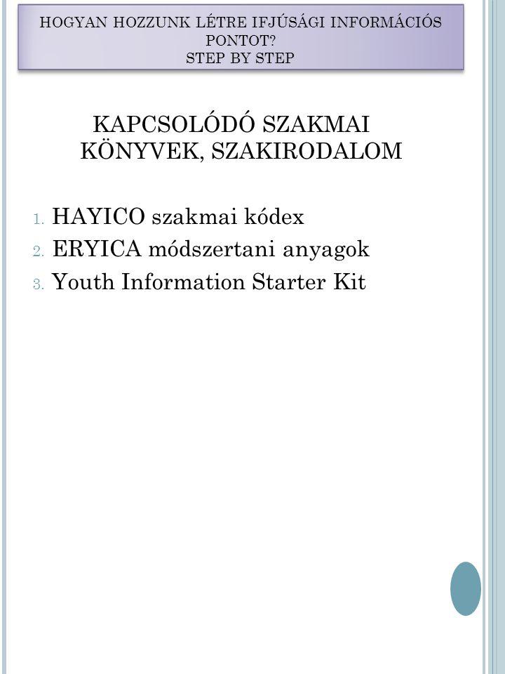 KAPCSOLÓDÓ SZAKMAI KÖNYVEK, SZAKIRODALOM 1. HAYICO szakmai kódex 2.