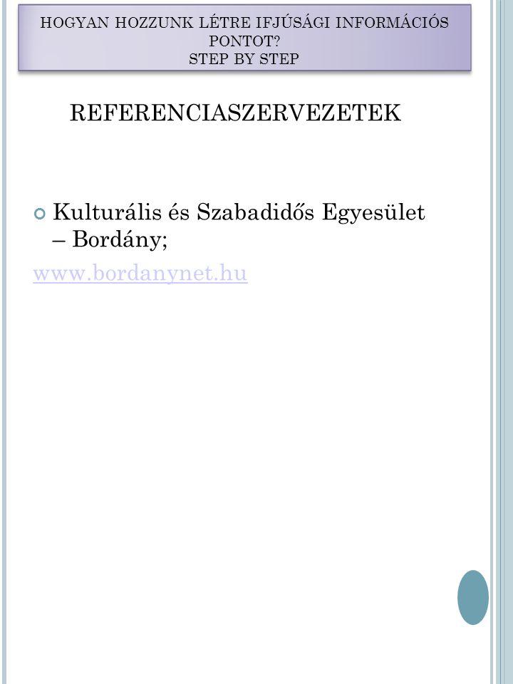 REFERENCIASZERVEZETEK Kulturális és Szabadidős Egyesület – Bordány; www.bordanynet.hu HOGYAN HOZZUNK LÉTRE IFJÚSÁGI INFORMÁCIÓS PONTOT.
