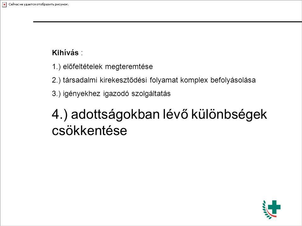 Kihívás : 1.) előfeltételek megteremtése 2.) társadalmi kirekesztődési folyamat komplex befolyásolása 3.) igényekhez igazodó szolgáltatás 4.) adottság