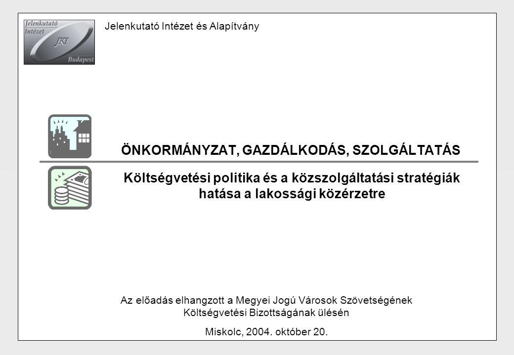 ÖNKORMÁNYZAT, GAZDÁLKODÁS, SZOLGÁLTATÁS Az előadás elhangzott a Megyei Jogú Városok Szövetségének Költségvetési Bizottságának ülésén Miskolc, 2004. ok