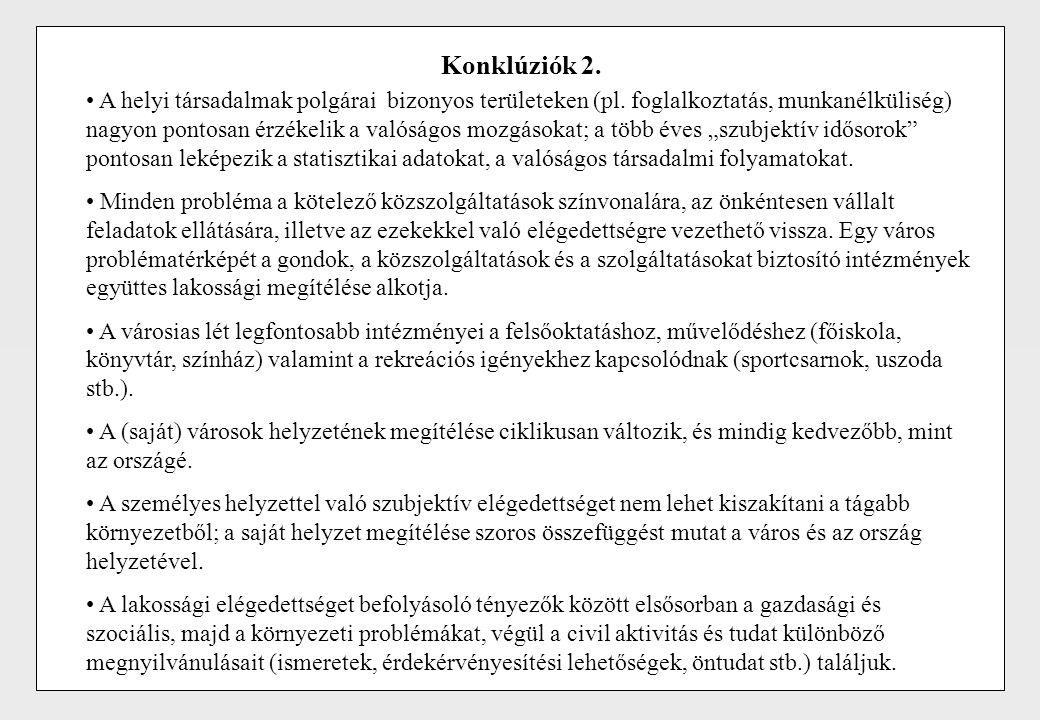Konklúziók 2. A helyi társadalmak polgárai bizonyos területeken (pl. foglalkoztatás, munkanélküliség) nagyon pontosan érzékelik a valóságos mozgásokat