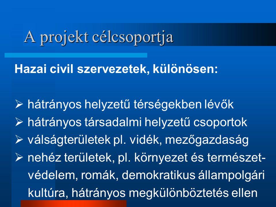 A projekt célcsoportja Hazai civil szervezetek, különösen:  hátrányos helyzetű térségekben lévők  hátrányos társadalmi helyzetű csoportok  válságterületek pl.