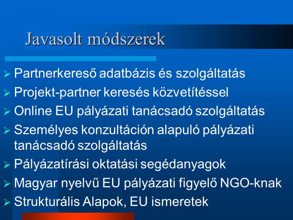 Javasolt módszerek  Partnerkereső adatbázis és szolgáltatás  Projekt-partner keresés közvetítéssel  Online EU pályázati tanácsadó szolgáltatás  Személyes konzultáción alapuló pályázati tanácsadó szolgáltatás  Pályázatírási oktatási segédanyagok  Magyar nyelvű EU pályázati figyelő NGO-knak  Strukturális Alapok, EU ismeretek
