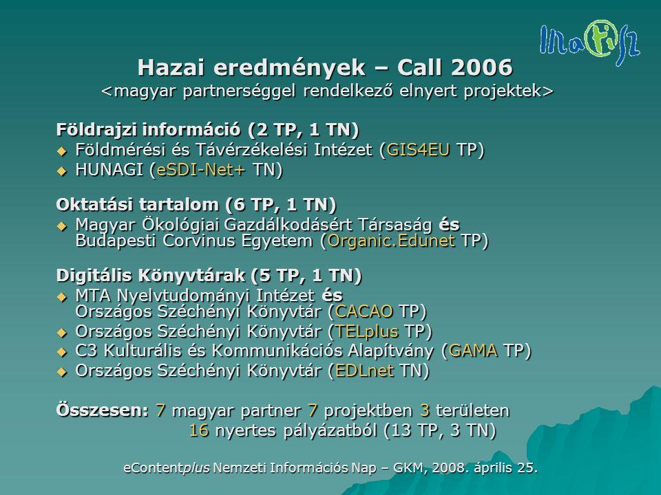 eContentplus Nemzeti Információs Nap – GKM, 2008. április 25. Hazai eredmények – Call 2006 Földrajzi információ (2 TP, 1 TN)  Földmérési és Távérzéke