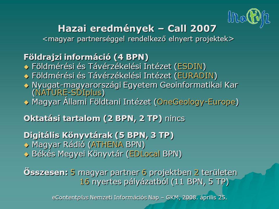 eContentplus Nemzeti Információs Nap – GKM, 2008. április 25. Hazai eredmények – Call 2007 Földrajzi információ (4 BPN)  Földmérési és Távérzékelési