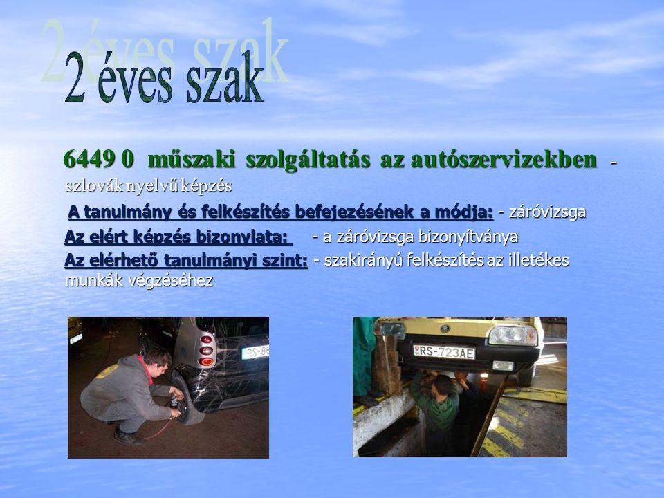 6449 0 műszaki szolgáltatás az autószervizekben - szlovák nyelvű képzés 6449 0 műszaki szolgáltatás az autószervizekben - szlovák nyelvű képzés A tanu