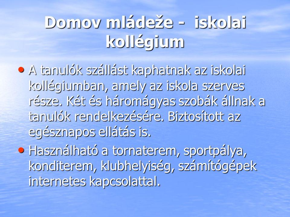 Domov mládeže - iskolai kollégium A tanulók szállást kaphatnak az iskolai kollégiumban, amely az iskola szerves része. Két és háromágyas szobák állnak