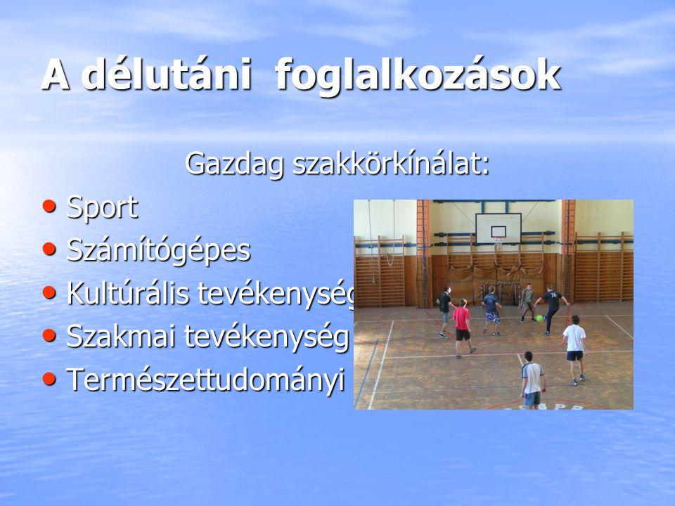 A délutáni foglalkozások Gazdag szakkörkínálat: Sport Sport Számítógépes Számítógépes Kultúrális tevékenység Kultúrális tevékenység Szakmai tevékenysé