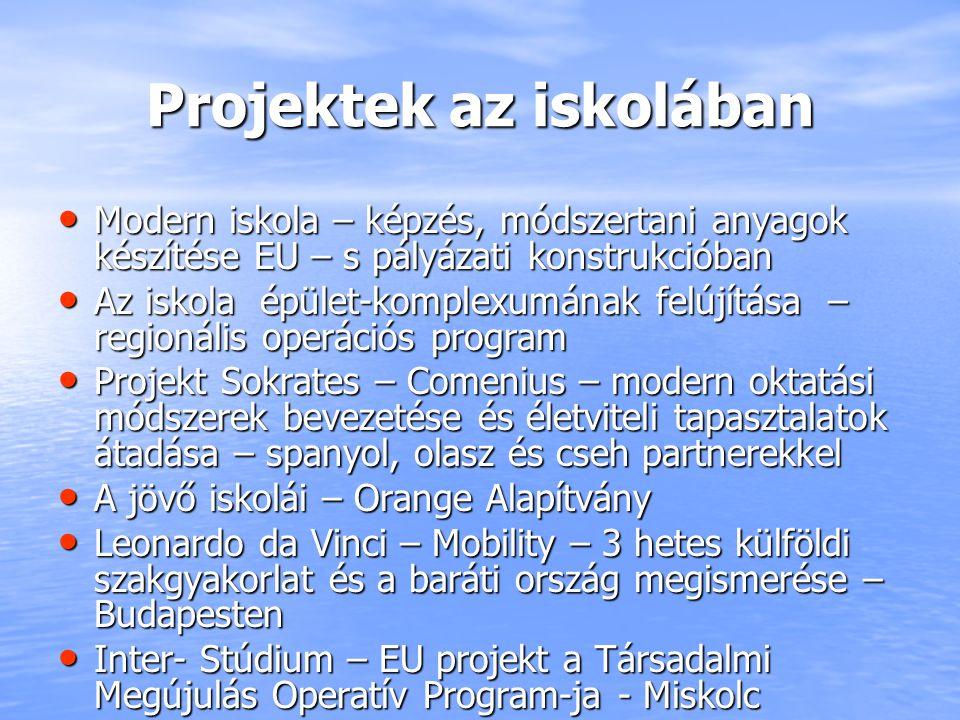 Projektek az iskolában Modern iskola – képzés, módszertani anyagok készítése EU – s pályázati konstrukcióban Modern iskola – képzés, módszertani anyag