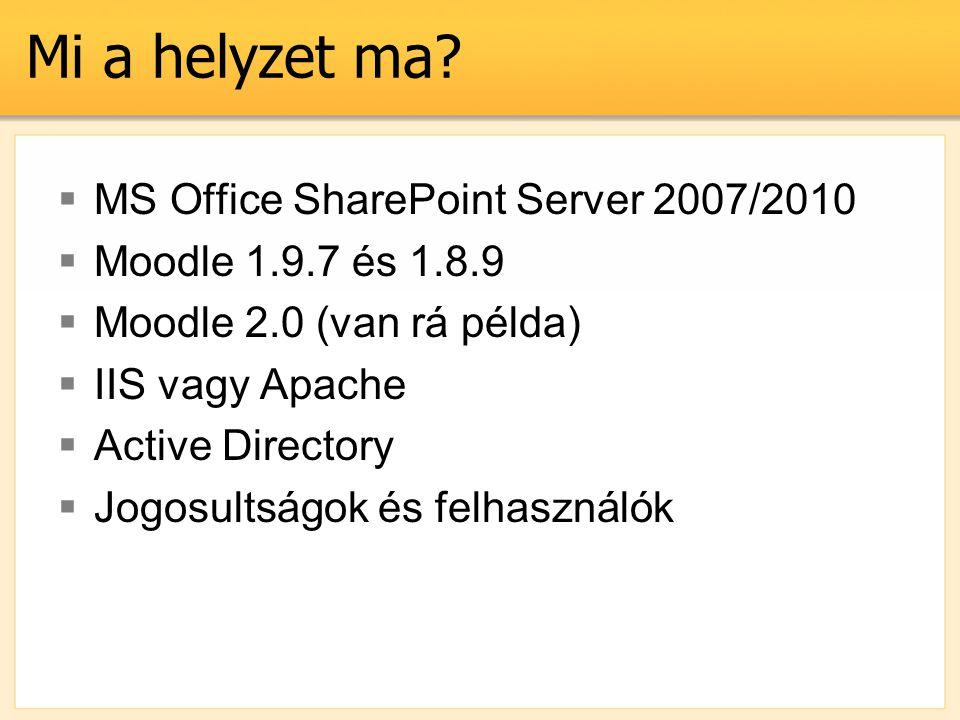 Mi a helyzet ma?  MS Office SharePoint Server 2007/2010  Moodle 1.9.7 és 1.8.9  Moodle 2.0 (van rá példa)  IIS vagy Apache  Active Directory  Jo