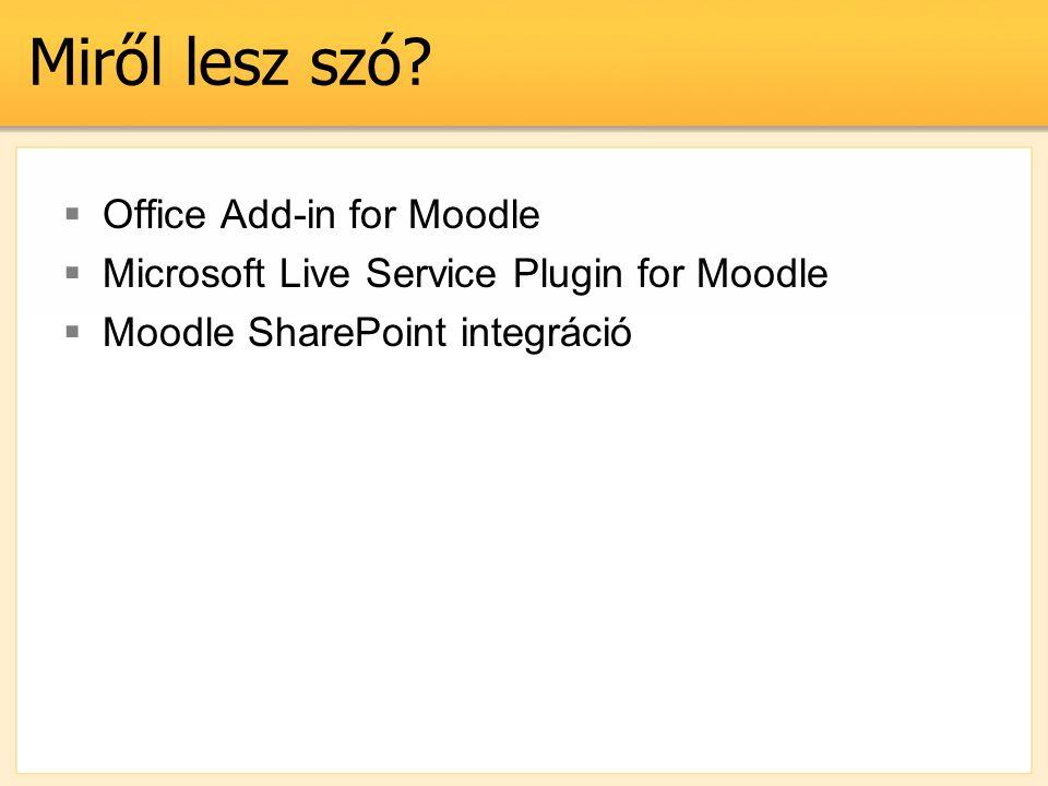 Office Add-in követelmények  Office változatok –Office 2003 –Office 2007 –Office 2010  Moodle változatok –Moodle 1.8 –Moodle 1.9 X86/x64!!!