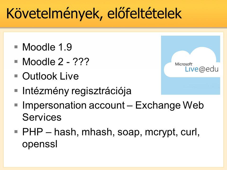 Követelmények, előfeltételek  Moodle 1.9  Moodle 2 - ???  Outlook Live  Intézmény regisztrációja  Impersonation account – Exchange Web Services 