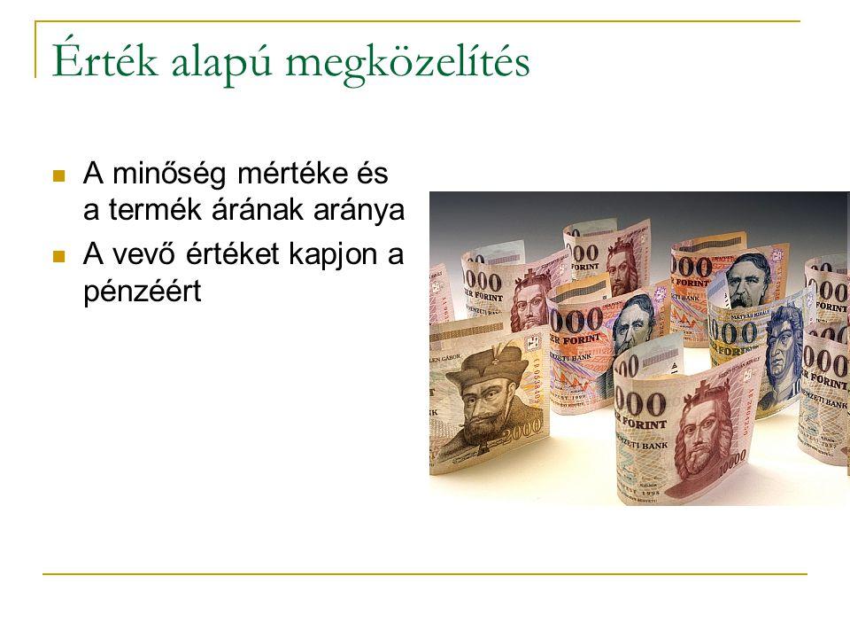 Érték alapú megközelítés A minőség mértéke és a termék árának aránya A vevő értéket kapjon a pénzéért