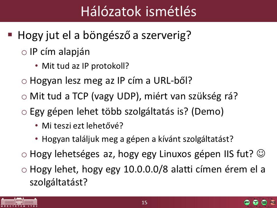 15 Hálózatok ismétlés  Hogy jut el a böngésző a szerverig? o IP cím alapján Mit tud az IP protokoll? o Hogyan lesz meg az IP cím a URL-ből? o Mit tud