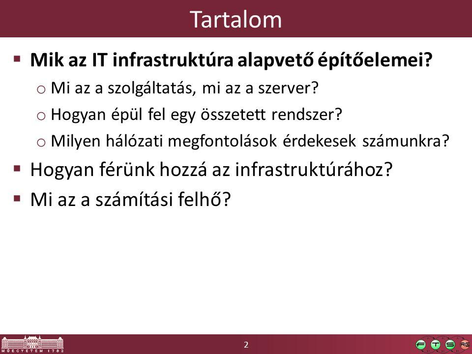 2 Tartalom  Mik az IT infrastruktúra alapvető építőelemei? o Mi az a szolgáltatás, mi az a szerver? o Hogyan épül fel egy összetett rendszer? o Milye