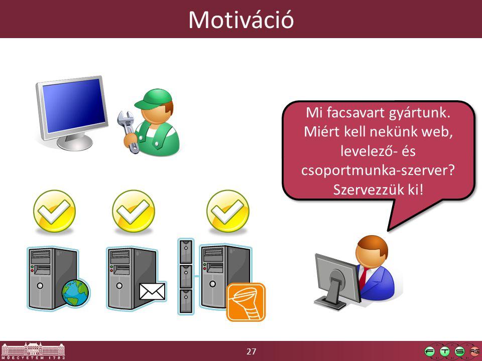 27 Motiváció Mi facsavart gyártunk. Miért kell nekünk web, levelező- és csoportmunka-szerver.