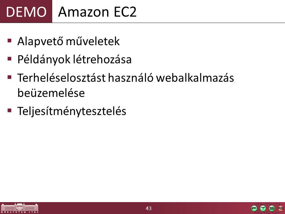 43 DEMO  Alapvető műveletek  Példányok létrehozása  Terheléselosztást használó webalkalmazás beüzemelése  Teljesítménytesztelés Amazon EC2