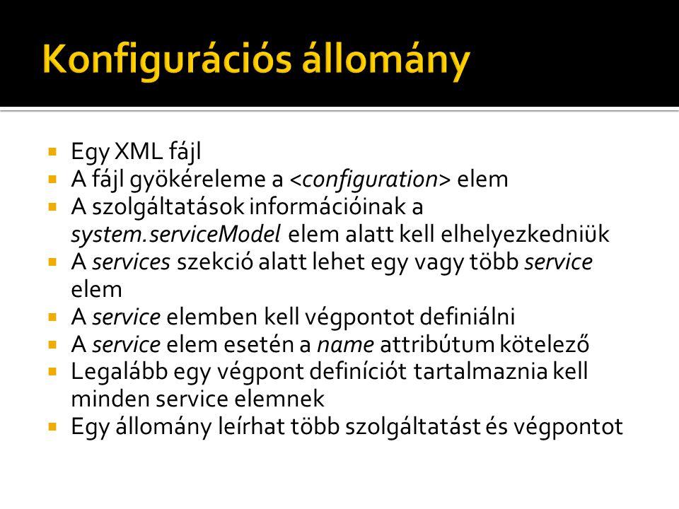  Egy XML fájl  A fájl gyökéreleme a elem  A szolgáltatások információinak a system.serviceModel elem alatt kell elhelyezkedniük  A services szekció alatt lehet egy vagy több service elem  A service elemben kell végpontot definiálni  A service elem esetén a name attribútum kötelező  Legalább egy végpont definíciót tartalmaznia kell minden service elemnek  Egy állomány leírhat több szolgáltatást és végpontot
