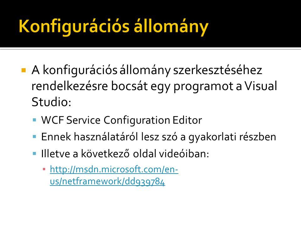  A konfigurációs állomány szerkesztéséhez rendelkezésre bocsát egy programot a Visual Studio:  WCF Service Configuration Editor  Ennek használatáról lesz szó a gyakorlati részben  Illetve a következő oldal videóiban: ▪ http://msdn.microsoft.com/en- us/netframework/dd939784 http://msdn.microsoft.com/en- us/netframework/dd939784