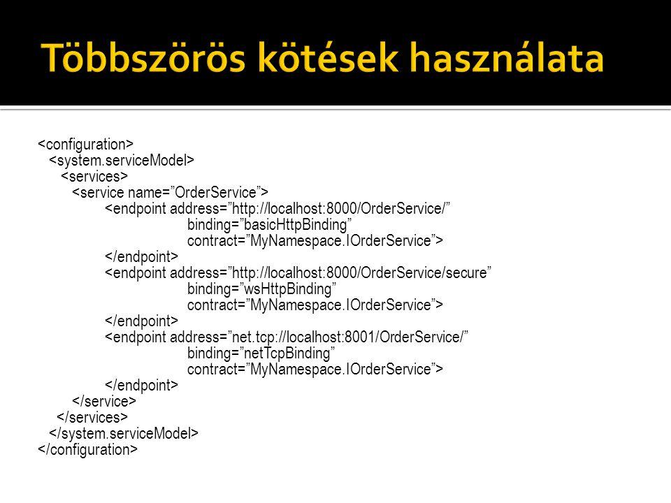 "<endpoint address=""http://localhost:8000/OrderService/"" binding=""basicHttpBinding"" contract=""MyNamespace.IOrderService""> <endpoint address=""http://loc"