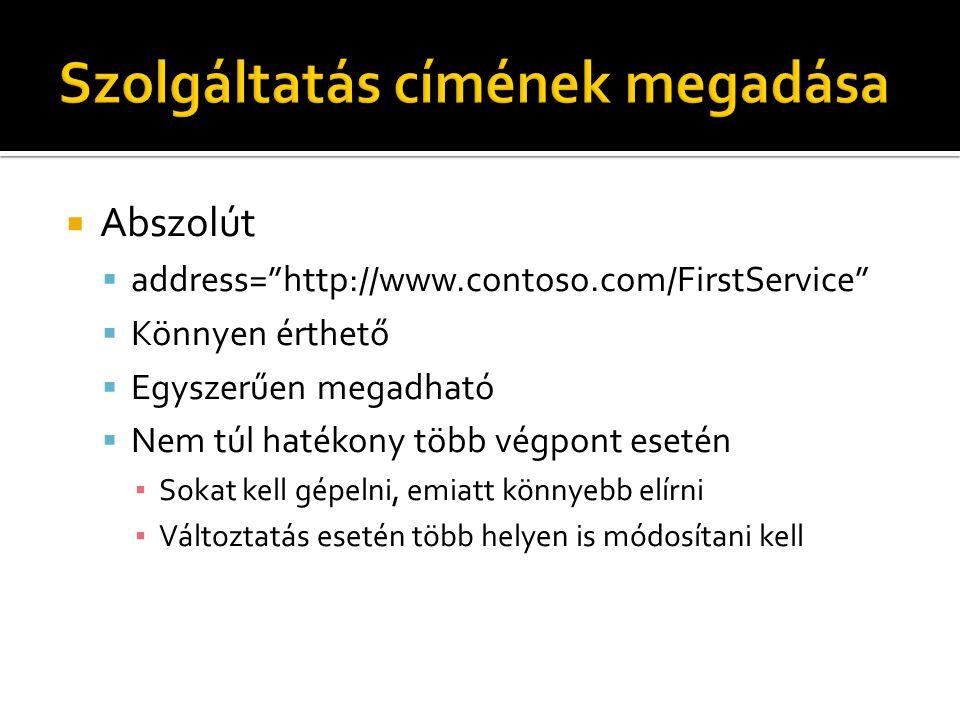  Abszolút  address= http://www.contoso.com/FirstService  Könnyen érthető  Egyszerűen megadható  Nem túl hatékony több végpont esetén ▪ Sokat kell gépelni, emiatt könnyebb elírni ▪ Változtatás esetén több helyen is módosítani kell