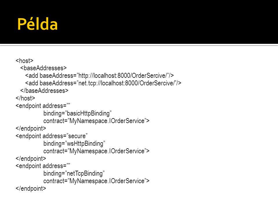<endpoint address= binding= basicHttpBinding contract= MyNamespace.IOrderService > <endpoint address= secure binding= wsHttpBinding contract= MyNamespace.IOrderService > <endpoint address= binding= netTcpBinding contract= MyNamespace.IOrderService >