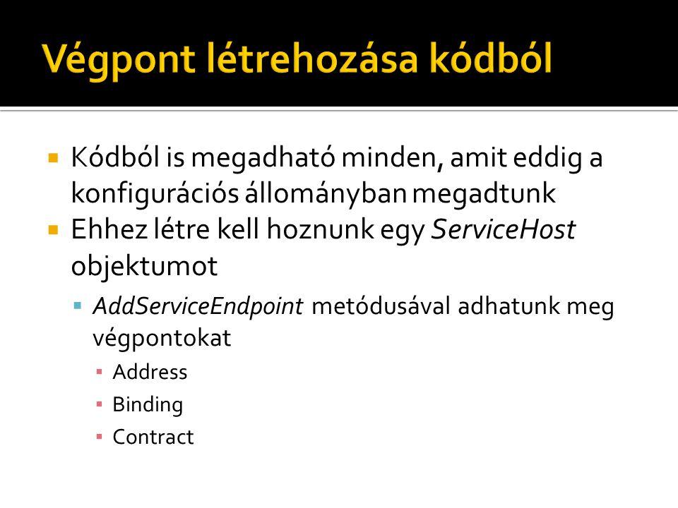  Kódból is megadható minden, amit eddig a konfigurációs állományban megadtunk  Ehhez létre kell hoznunk egy ServiceHost objektumot  AddServiceEndpoint metódusával adhatunk meg végpontokat ▪ Address ▪ Binding ▪ Contract
