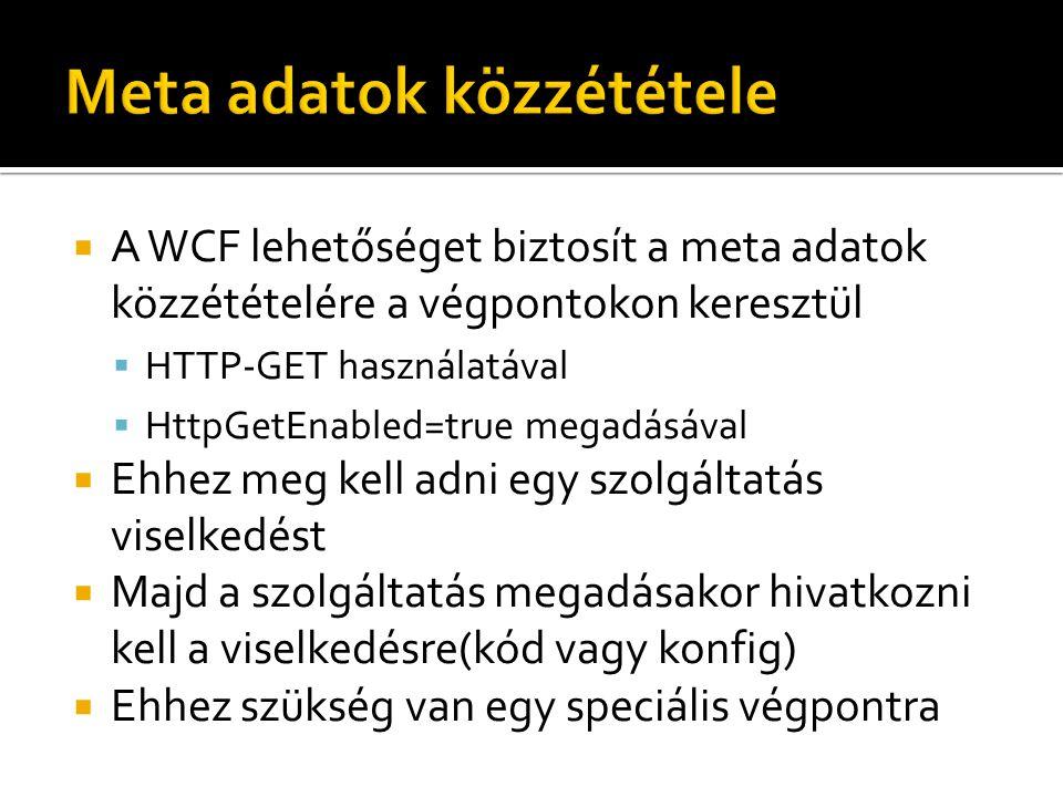  A WCF lehetőséget biztosít a meta adatok közzétételére a végpontokon keresztül  HTTP-GET használatával  HttpGetEnabled=true megadásával  Ehhez meg kell adni egy szolgáltatás viselkedést  Majd a szolgáltatás megadásakor hivatkozni kell a viselkedésre(kód vagy konfig)  Ehhez szükség van egy speciális végpontra