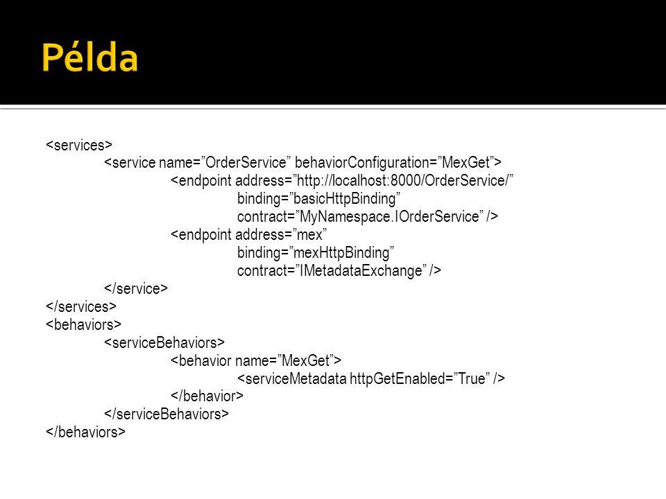 "<endpoint address=""http://localhost:8000/OrderService/"" binding=""basicHttpBinding"" contract=""MyNamespace.IOrderService"" /> <endpoint address=""mex"" bin"
